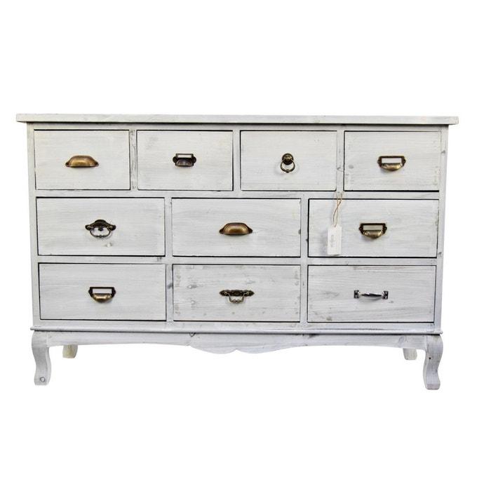meuble semainier chiffonnier grainetier bois 10 tiroirs ceruse blanc 125x35x80cm blanc. Black Bedroom Furniture Sets. Home Design Ideas