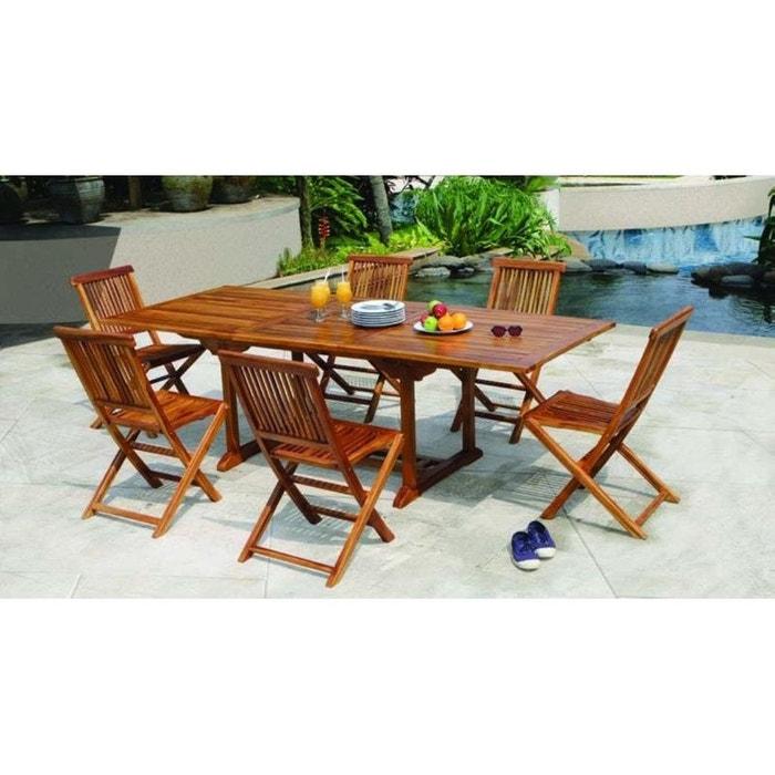 Salon de jardin en teck huilé table rectangulaire 180/240cm 6 chaises ...