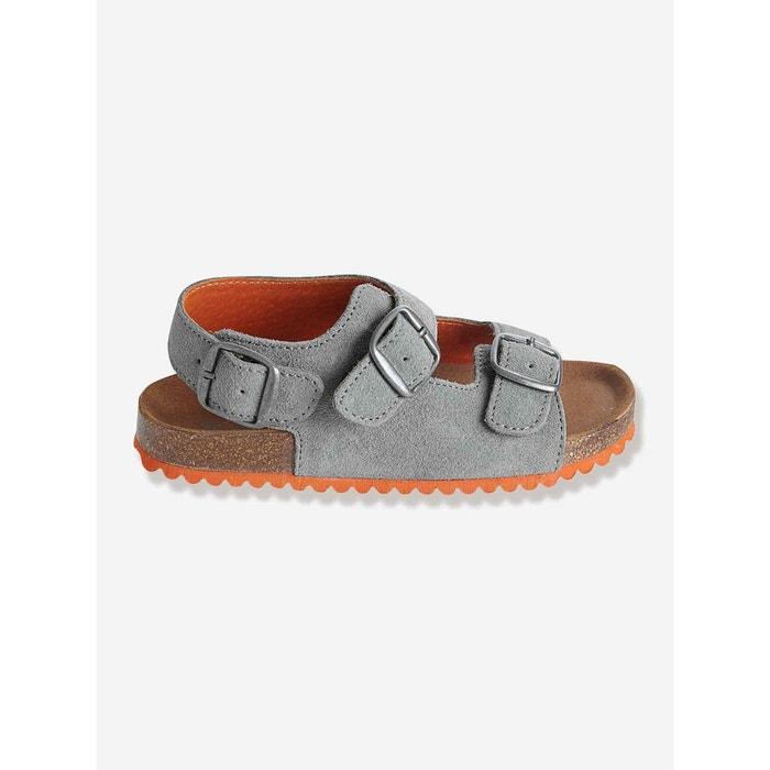 6e52b9417fc53 Sandales garçon en cuir gris multicolore Vertbaudet