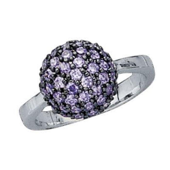 Bague anneau joaillerie boule oxyde de zirconium violet 12 mm argent 925 couleur unique So Chic Bijoux   La Redoute Acheter Pas Cher Recherche C5lq8VaCM