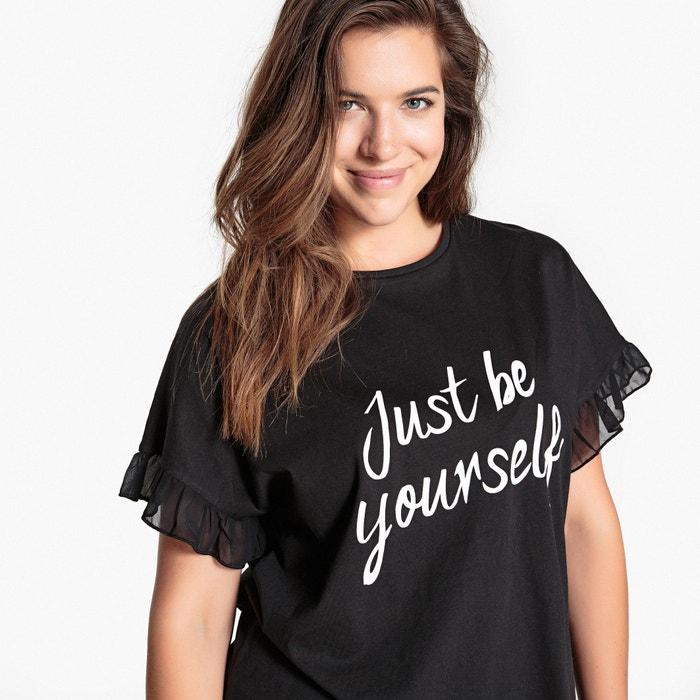 Imagen de Camiseta con mensaje, manga corta con volante CASTALUNA
