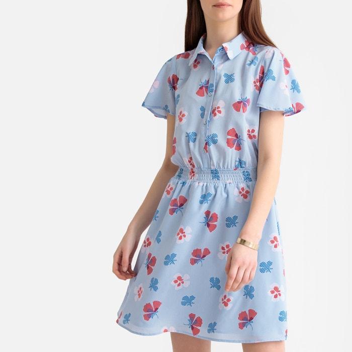 a05faba8705 Платье с короткими рукавами и цветочным рисунком цветы синий La Redoute  Collections