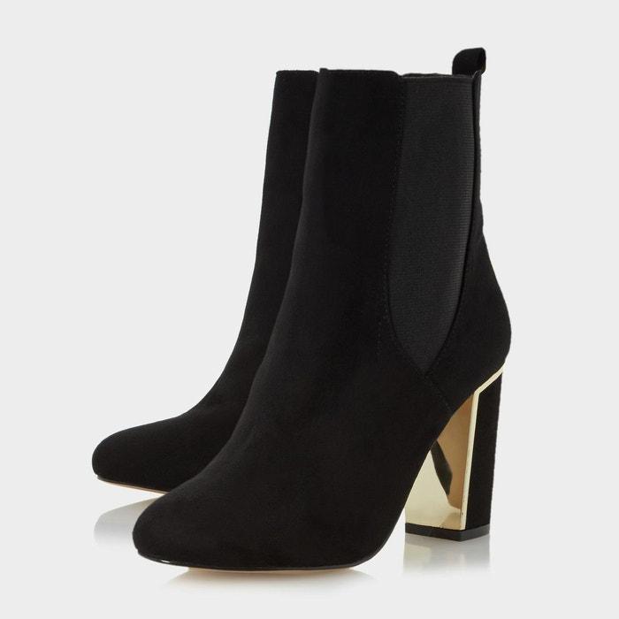 Metallic heel insert chelsea boot - odilia noir micro fibre Head Over Heels By Dune