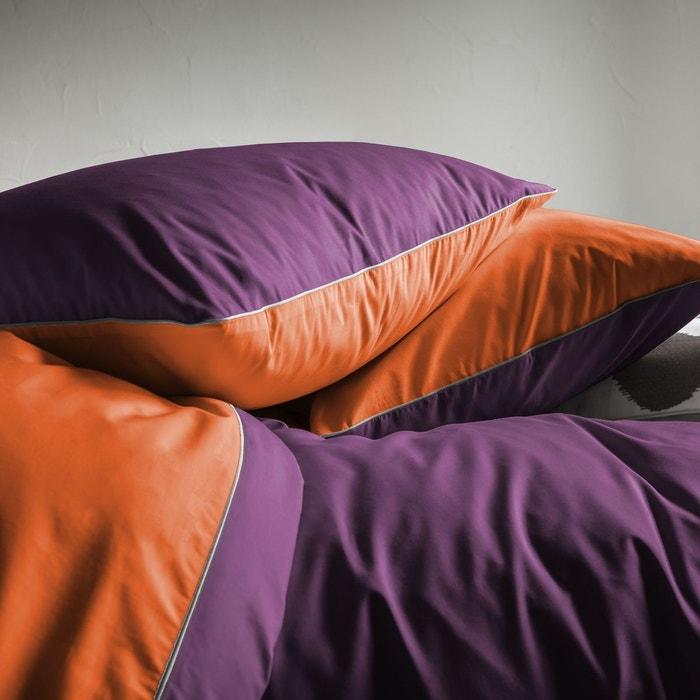 Housse de couette prune et orange percale 80 fils cm - Housse de couette bicolore la redoute ...
