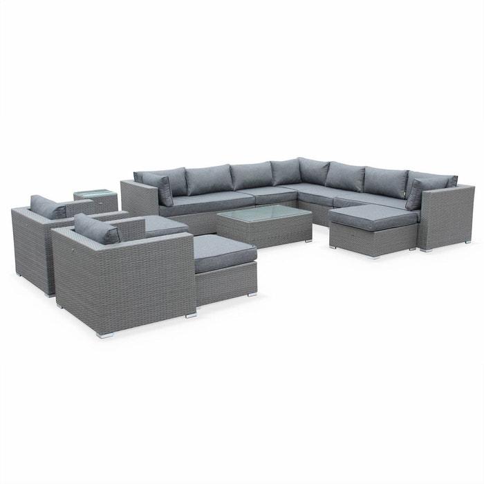 salon de jardin en r sine tress e xxl tripoli gris coussins gris 14 places gris gris. Black Bedroom Furniture Sets. Home Design Ideas