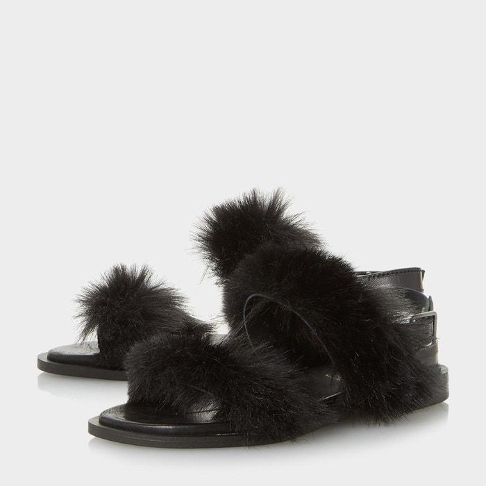 Sandales à deux brides duveteuses - luiisa Dune Black
