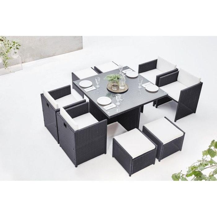 Salon de jardin family 8 gris/blanc Bobochic | La Redoute