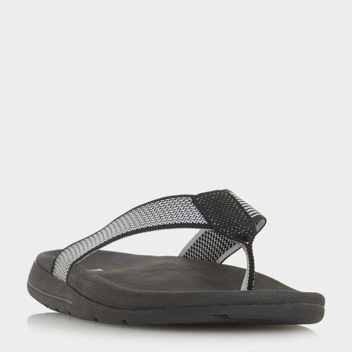 Tongs salomé à entredoigt en maille - hopkinss  noir / blanc plain synthetic Dune London  La Redoute
