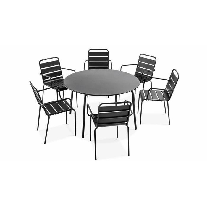 Table de jardin ronde et 6 fauteuils en métal gris, Palavas