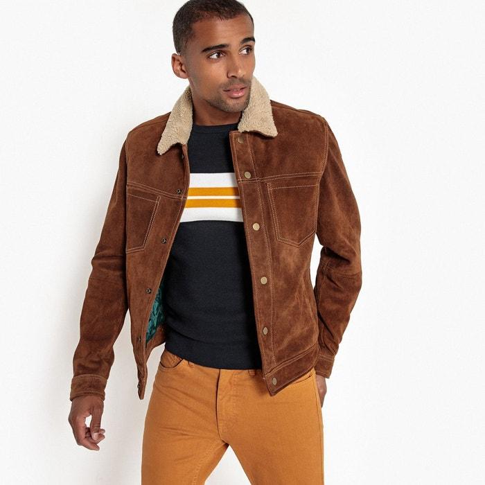 Blouson pressionné en cuir de vachette marron camel La Redoute Collections    La Redoute e122329fa05
