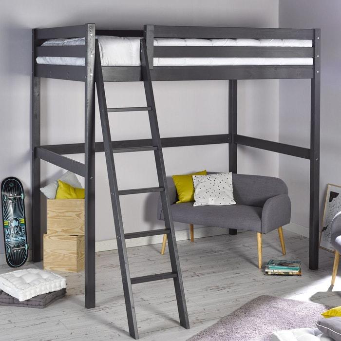 lit mezzanine 140x200 h 208 clement anthracite anthracite. Black Bedroom Furniture Sets. Home Design Ideas