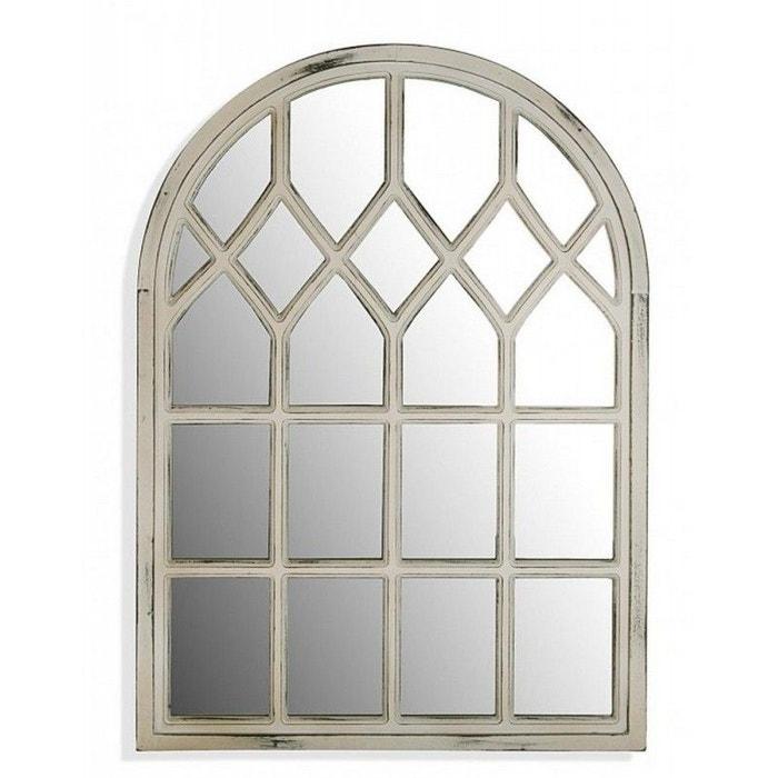 miroir mural fen tre arrondie bois vieilli versa blanc versa la redoute. Black Bedroom Furniture Sets. Home Design Ideas