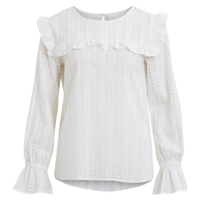 Effen rechte blouse met ronde hals en lange mouwen  VILA image 0