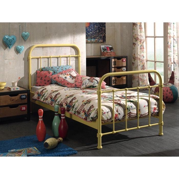 lit enfant en m tal jaune 90x200 jaune terre de nuit la. Black Bedroom Furniture Sets. Home Design Ideas