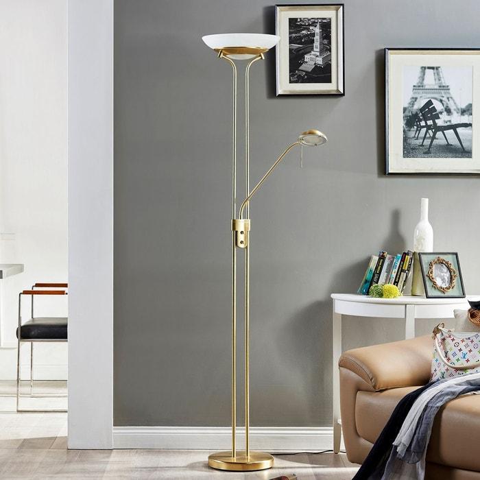 lampadaire led variable yveta liseuse laiton blanc. Black Bedroom Furniture Sets. Home Design Ideas