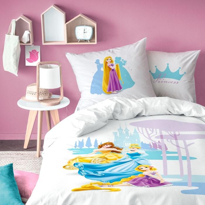 Housse de couette taie d 39 oreiller 100 coton blanc - Tour de lit princesse disney ...