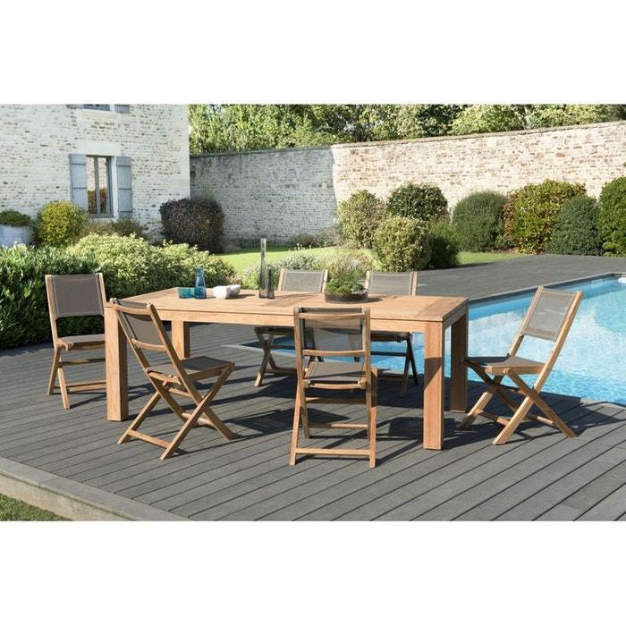 Salon de jardin teck table 220x100 6 chaises pliantes - Salon jardin la redoute ...