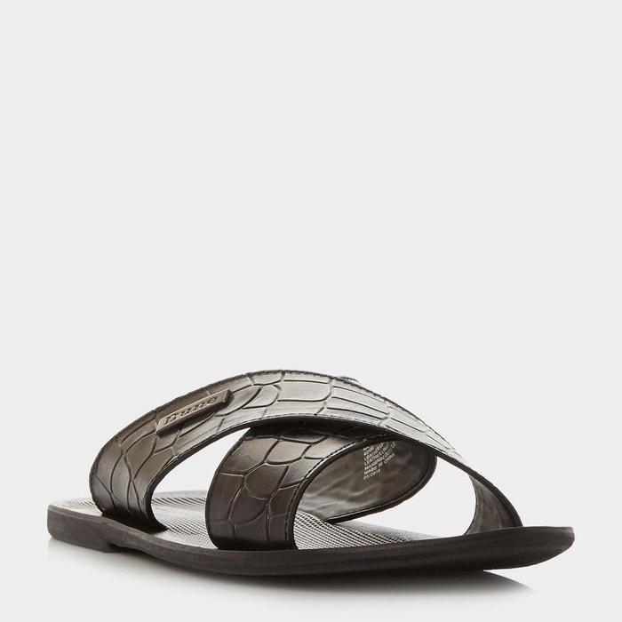 Sandales à brides croisées à imprimé imitation croco - idolise  noir cuir Dune London  La Redoute