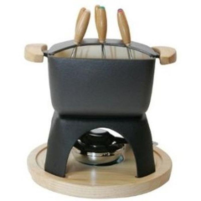 385072 service fondue en fonte carr noir couleur unique. Black Bedroom Furniture Sets. Home Design Ideas