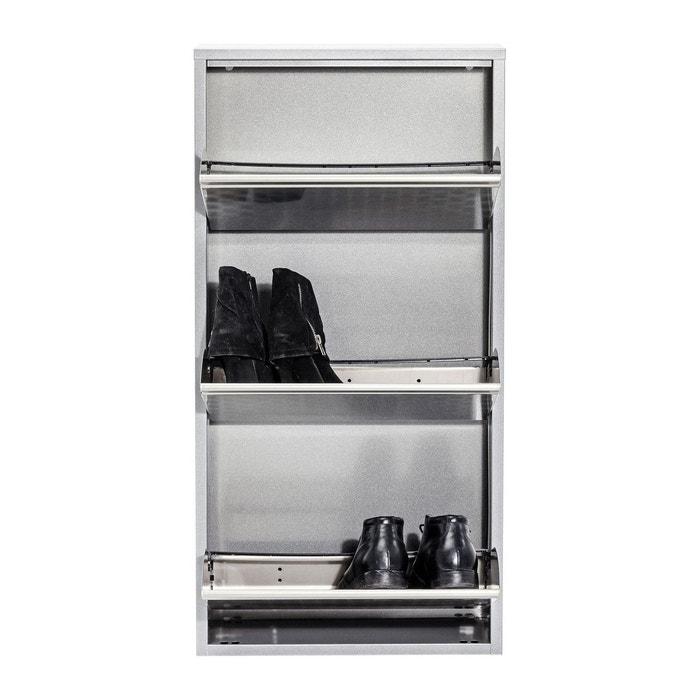 casier chaussure caruso alu 3 tiroirs kare design gris. Black Bedroom Furniture Sets. Home Design Ideas