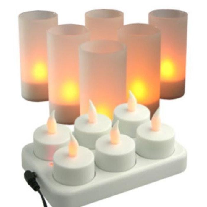 lot de 6 bougies a led rechargeables station de charge photophores support satine. Black Bedroom Furniture Sets. Home Design Ideas