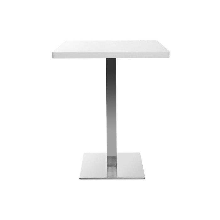 Table De Bar Design Carré Blanche Pied Central Jory