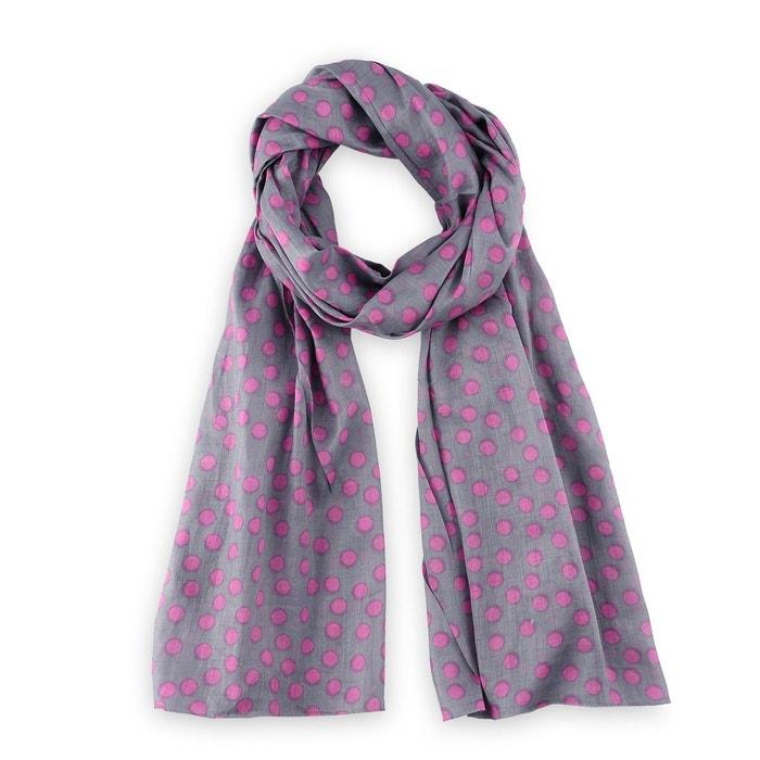 Chèche imprimé coton gris pois rose gris Allee Du Foulard   La Redoute 5fdcf832d19