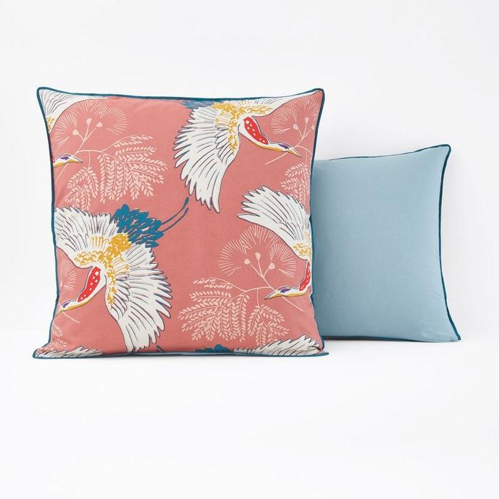taie d oreiller percale grues imprim rose blush la. Black Bedroom Furniture Sets. Home Design Ideas