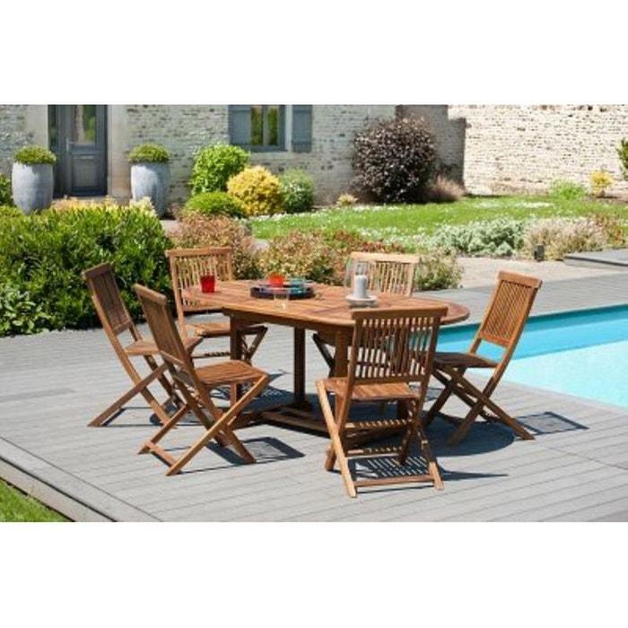 Salon de jardin en teck huil table ovale 120 180cm 6 chaises macao table bois fonc pier import Table jardin teck la redoute