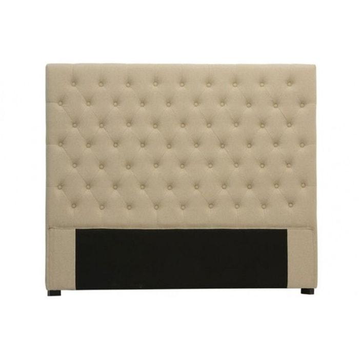 t te de lit capitonn e en lin beige 180 cm beige declikdeco la redoute. Black Bedroom Furniture Sets. Home Design Ideas