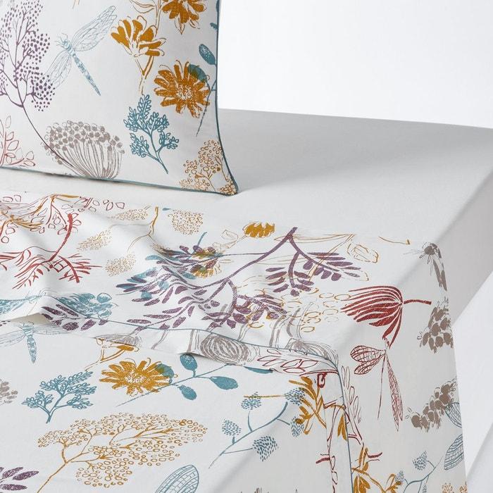 drap plat percale de coton botanique imprim la redoute interieurs la redoute. Black Bedroom Furniture Sets. Home Design Ideas