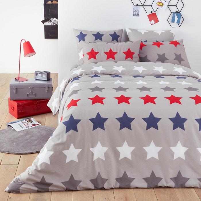 Stars Print Cotton Duvet Cover Grey Print La Redoute Interieurs