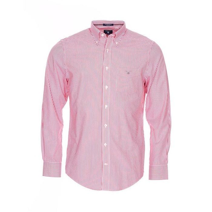 Chemise droite en popeline à rayures s coton rouge Gant