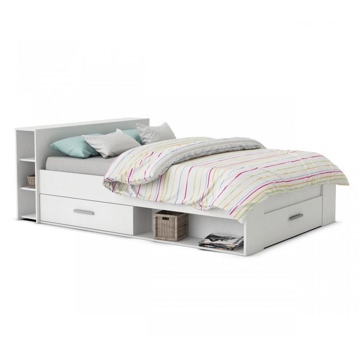 lit en bois avec tiroir 160x200 blanc perle blanc terre de nuit la redoute. Black Bedroom Furniture Sets. Home Design Ideas