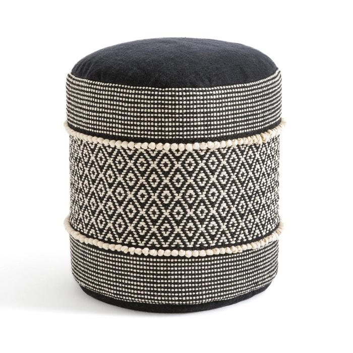 pouf curico naturel noir la redoute interieurs la redoute. Black Bedroom Furniture Sets. Home Design Ideas