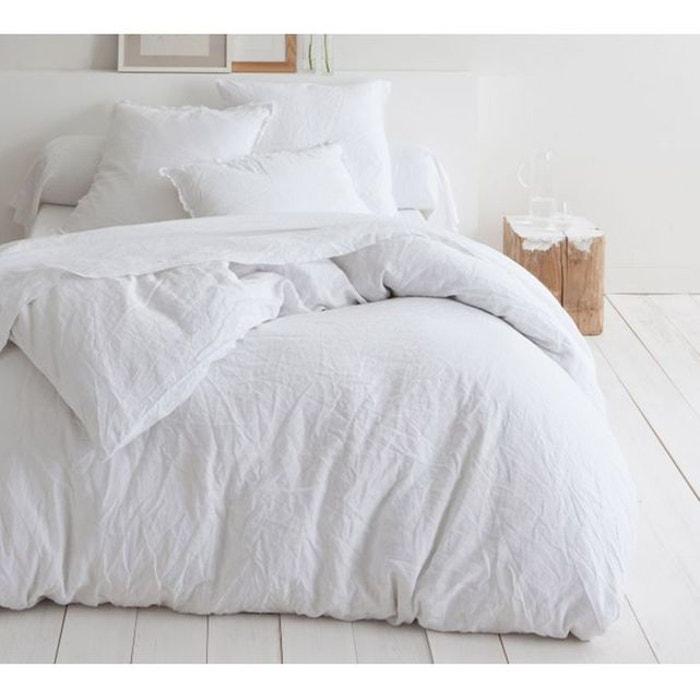 Drap plat lin blanc blanc monteleone le linge la redoute - La redoute linge de lit en lin ...