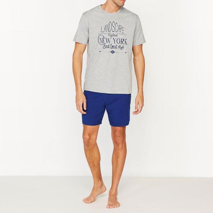Pyjashort bicolore en jersey de coton gris chiné + bleu La Redoute  Collections  df36baed2ca