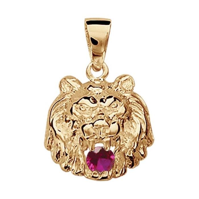Pendentif lion oxyde de zirconium rouge vermeil (or 750 sur argent 925) couleur unique So Chic Bijoux | La Redoute Énorme Surprise En Ligne Yxmwh9