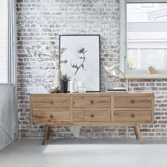 buffet en bois de mindy largeur 200 cm 6 tiroirs oslo naturel bois dessus bois dessous. Black Bedroom Furniture Sets. Home Design Ideas