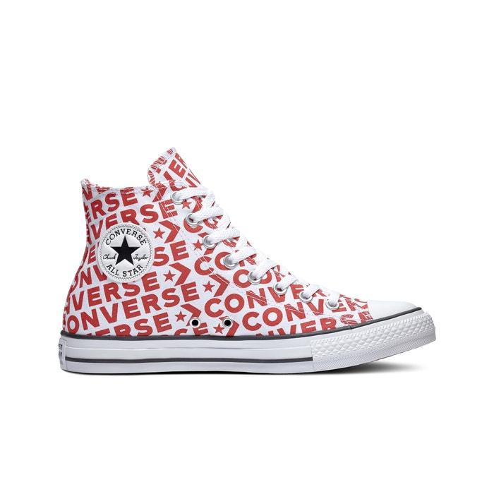 66615259b Zapatillas de caña alta de lona ctas hi wordmark canvas blanco estampado  Converse