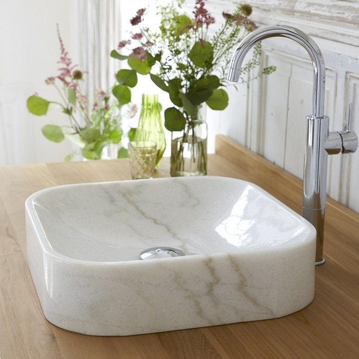 Vasque De Salle De Bain En Marbre Perseus White Marbre Blanc Tikamoon   La  Redoute