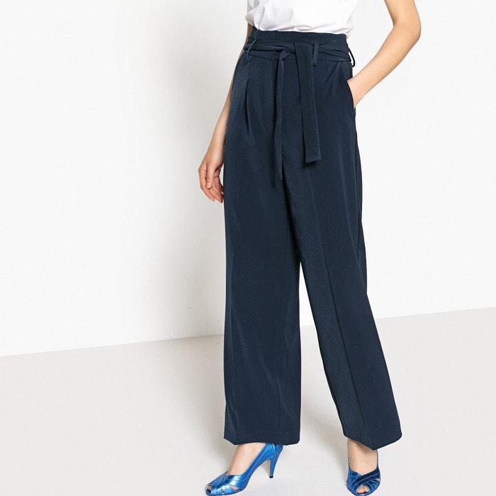 pantalon large fluide taille haute ceintur bleu marine. Black Bedroom Furniture Sets. Home Design Ideas