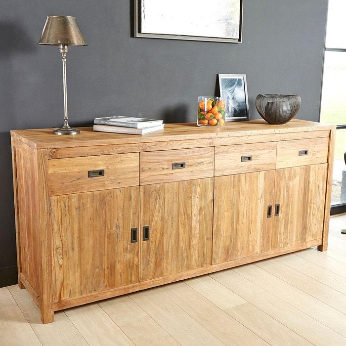buffet en bois de teck recycle 200cm 4 portes 4 tiroirs couleur unique bois dessus bois. Black Bedroom Furniture Sets. Home Design Ideas