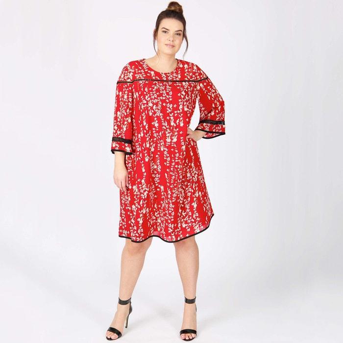 Kleid rot geblumt