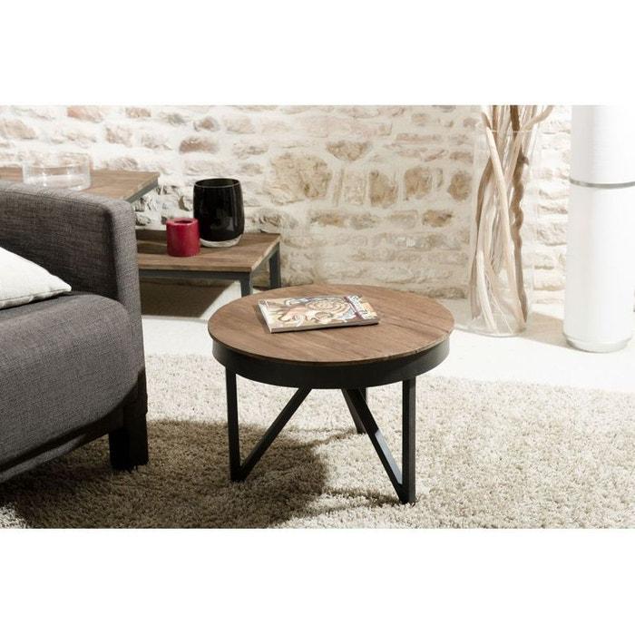 Table Basse Ronde Bois De Teck Recyclé Métal Noir Petit Modèle Swing
