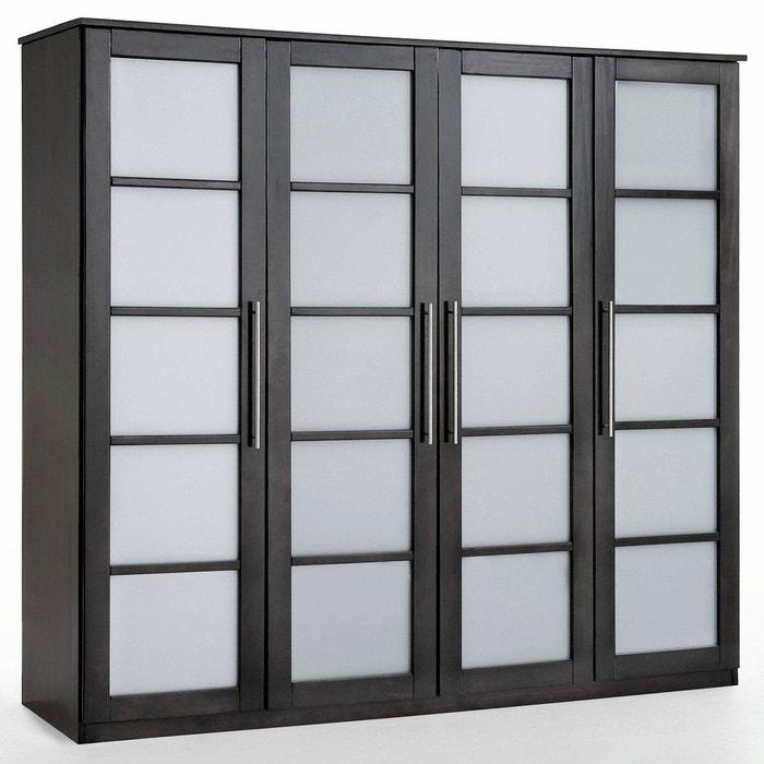 armoire 4 portes dressing pin h180 cm bolton noir weng la redoute interieurs la redoute. Black Bedroom Furniture Sets. Home Design Ideas