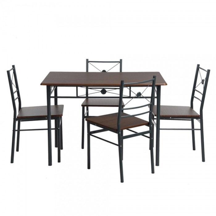 Ensemble Table A Manger Et 4 Chaises Design Industriel Bois Fonce Calicosy