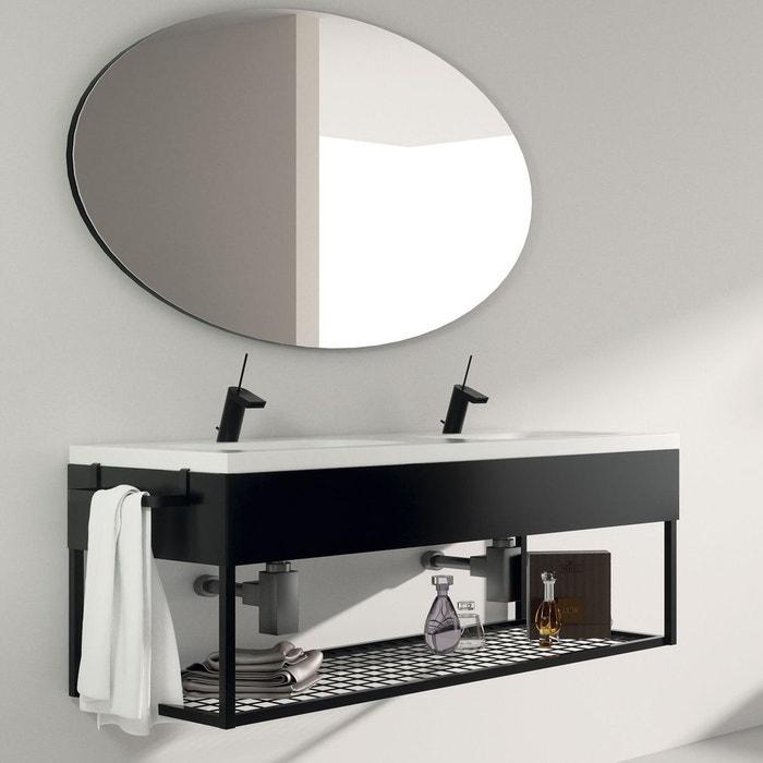 Meuble salle de bain suspendu 120 cm + double vasque céramique ...