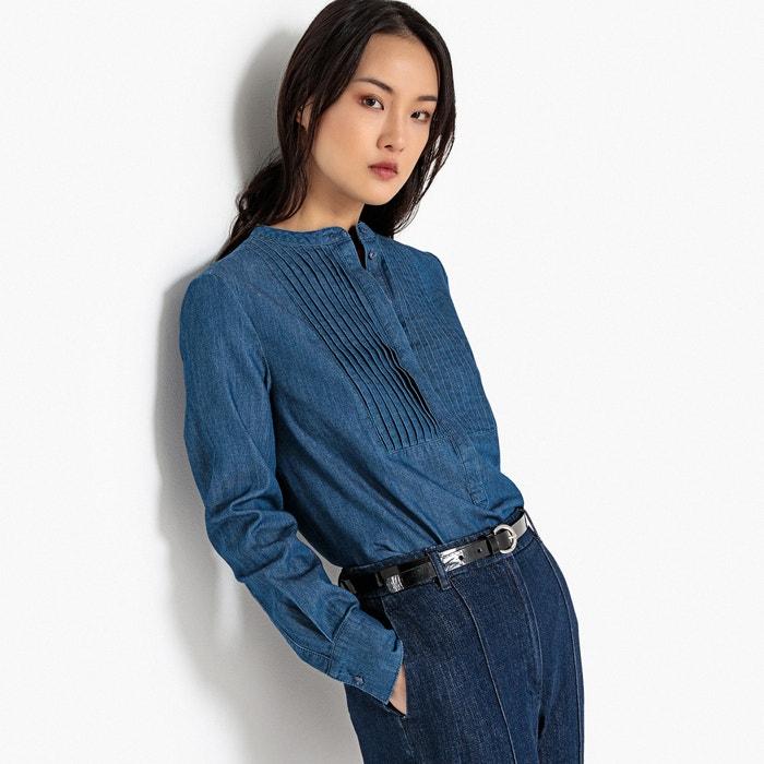 370203aaf9 Pleated bib mandarin collar denim shirt stonewashed LA REDOUTE COLLECTIONS.  Ref 1182926   GFA104. Product details • Long sleeves • Straight cut