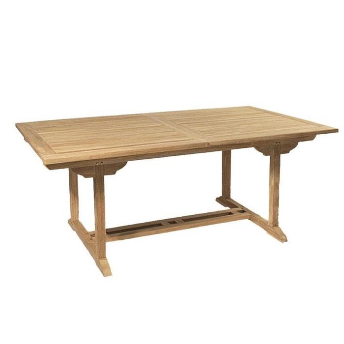 Table de jardin extensible rectangulaire en bois de teck massif  120/180x90cm SUMMER 10 personnes